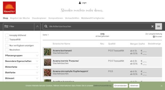 Portfolio-Ansicht Webseite Hameter GmbH